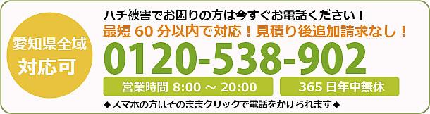 長野県蜂駆除・巣の撤去電話お問い合わせ「0120-538-902」